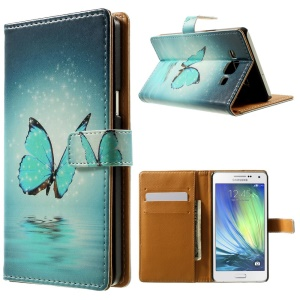 Romantic Butterfly Pattern Leather Wallet Cover for Samsung Galaxy A5 SM-A500F w/ Stand