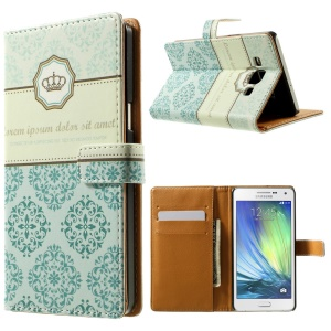 Crown & Moroccan Pattern Leather Wallet Shell for Samsung Galaxy A5 SM-A500F w/ Stand