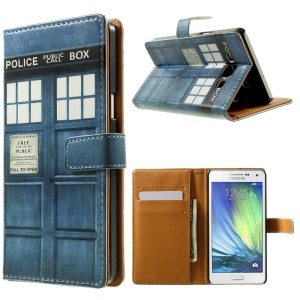 Police Public Call Box Leather Stand Case for Samsung Galaxy A5 SM-A500F