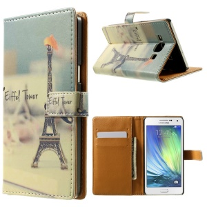 Eiffel Tower Leather Stand Cover for Samsung Galaxy A5 SM-A500F
