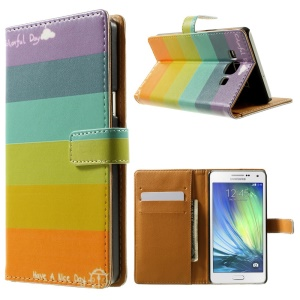Colorized Stripes Leather Stand Case Shell for Samsung Galaxy A5 SM-A500F