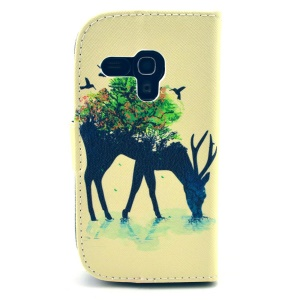 Unique Deer for Samsung Galaxy S3 Mini i8190 Wallet Leather Stand Case