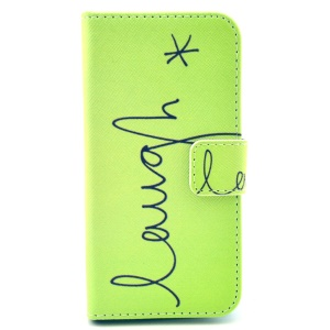 "Letter ""Laugh"" Pattern for Samsung Galaxy S4 mini Leather Stand Wallet Cover"