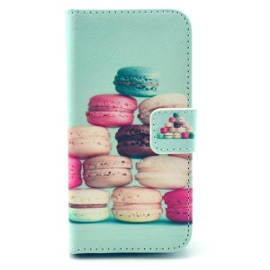 Colorful Macarons Pattern Leather Stand Wallet Cover for Samsung Galaxy S4 mini I9190