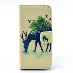 Deer with Trees on the Back Pattern Leather Case for Samsung Galaxy S4 mini I9190 w/ Stand & Card Slots