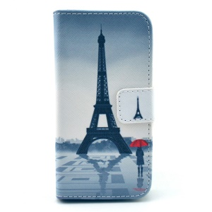 Eiffel Tower & Girl with Red Umbrella Pattern Magnetic Leather Case for Samsung Galaxy S4 mini I9190 w/ Stand & Card Slots