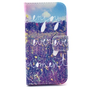 Flowers & Quote Pattern Flip Leather Wallet Stand Case Cover for Samsung Galaxy S4 mini