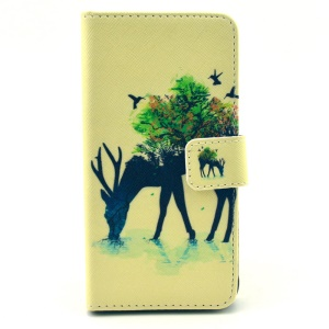 Wallet Leather Stand Case for Samsung Galaxy Alpha SM-G850F SM-G850A - Antelope & Tree
