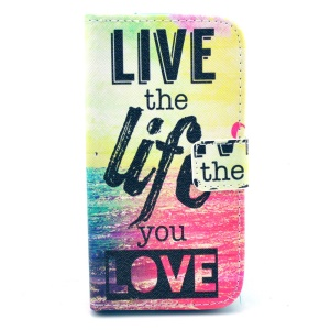 Folio Leather Case for Samsung Galaxy Core LTE G386F / Avant G386T - Live the Life You Love