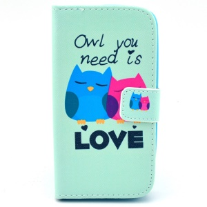 Flip Stand Leather Case for Samsung Galaxy Core LTE G386F / Avant G386T - Owl You Need Is Love