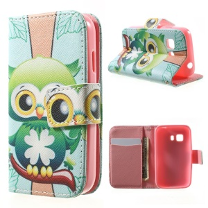 Card Holder PU Leather Skin Case for Samsung Galaxy Young 2 SM-G130 - Lovely Green Bird