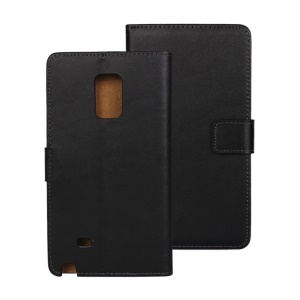Genuine Split Leather Wallet Case for Samsung Galaxy Note Edge N915 w/ Stand - Black