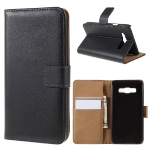 Genuine Split Leather Wallet Case for Samsung Galaxy A3 SM-A300F w/ Stand - Black