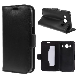 DOORMOON Genuine Leather Case for Samsung Galaxy Ace 4 SM-G357FZ / Ace Style LTE G357 w/ Stand - Black