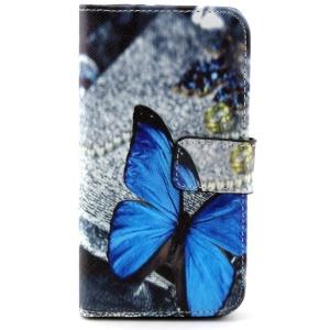 Wallet Leather Case for Samsung Galaxy Alpha SM-G850F SM-G850A w/ Stand - Blue Butterfly