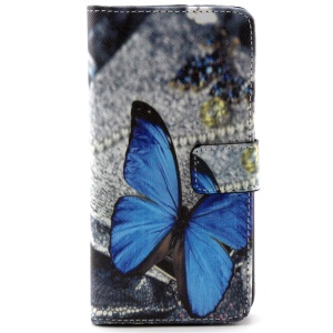 Wallet Leather Cover for Samsung Galaxy Grand Prime SM-G530H w/ Stand - Blue Butterfly