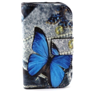 For Samsung Galaxy Young 2 SM-G130 Leather Stand Case - Blue Butterfly