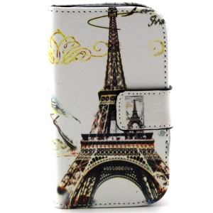 For Samsung Galaxy Young 2 SM-G130 Leather Stand Cover - Eiffel Tower