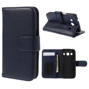 Litchi Skin Wallet Leather Cover for Samsung Galaxy Ace 4 SM-G357FZ / Ace Style LTE G357 - Dark Blue