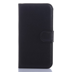 Lychee Grain Leather Case Flip Stand for Samsung Core Prime SM-G360 - Black