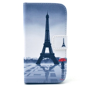 Leather Wallet Stand Case for Samsung Galaxy Core LTE G386F / Avant SM-G386T - Eiffel Tower & Girl