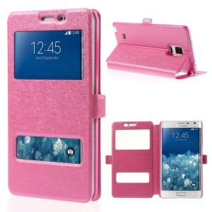 For Samsung Galaxy Note Edge N915A N915T Silk Texture Dual View Windows Leather Stand Cover - Rose