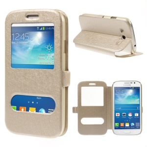 Silk Texture Leather Stand Cover for Samsung Galaxy Grand Neo I9062 I9080 with Dual View Windows - Champagne