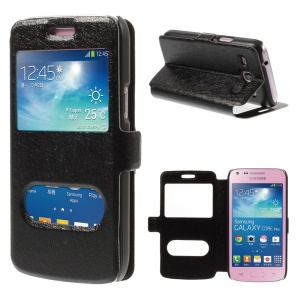 Silk Texture Leather Case for Samsung Galaxy Core Plus G3500 G3502 with Dual View Windows - Black