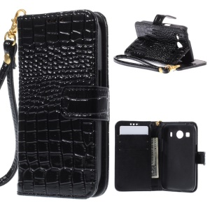 Crocodile Skin Leather Wallet Case for Samsung Galaxy Ace 4 SM-G357FZ / Ace Style LTE G357 - Black