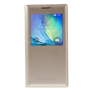 For Samsung Galaxy A5 SM-A500F Leather Folio Cover with View Window - Champagne