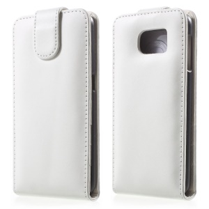 Vertical Magnetic Flip Leather Case Cover for Samsung Galaxy S6 G920 - White