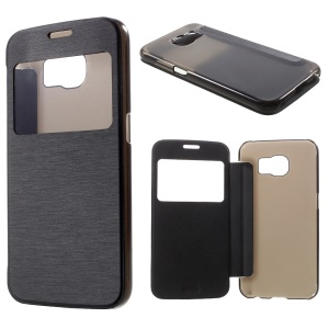 Window View Leather Folio Case for Samsung Galaxy S6 G920 with Back Plastic Case - Black