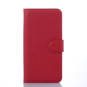 Litchi Grain Wallet Leather Shell for Samsung Galaxy S6 Edge SM-G925 with Stand - Red