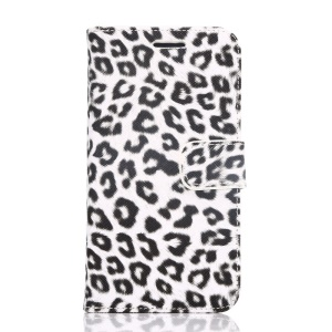 Leopard Texture Leather Wallet Case for Samsung Galaxy S6 G920 with Stand - White