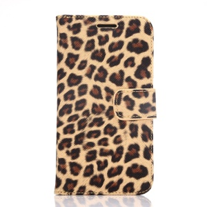 Leopard Texture Leather Wallet Cover for Samsung Galaxy S6 G920 with Stand - Brown