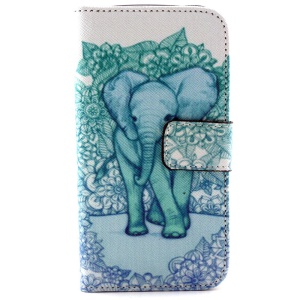 Stand Leather Wallet Cover for Samsung Galaxy Core LTE G386F / Avant G386T - Elephant and Flowers