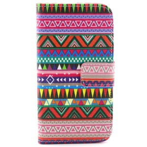 Stand Leather Wallet Case Cover for Samsung Galaxy Core LTE G386F / Avant G386T - Tribal Triangles