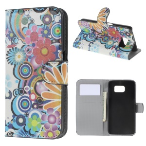Colorized Flowers Leather Wallet Case for Samsung Galaxy S6 SM-G920 with Stand