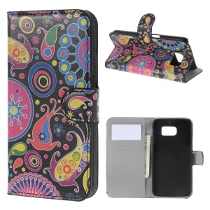 Paisley Flowers Leather Wallet Case for Samsung Galaxy S6 SM-G920 with Stand