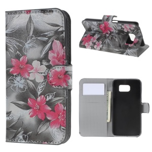 Leather Card Slots Case for Samsung Galaxy S6 SM-G920 - Pretty Lily Flower