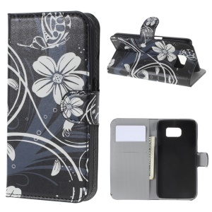 Leather Wallet Bracket Case for Samsung Galaxy S6 SM-G920 - Elegant Floral