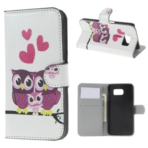 Leather Wallet Bracket Case for Samsung Galaxy S6 SM-G920 - Cute Owl Family