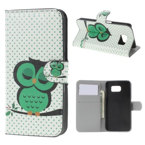 Leather Wallet Bracket Case for Samsung Galaxy S6 SM-G920 - Sleeping Owl and Polka Dots