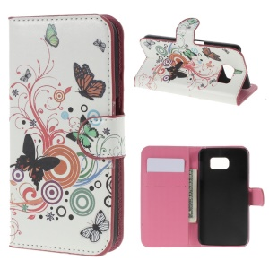 Butterfly Circles for Samsung Galaxy S6 SM-G920 Leather Diary Stand Shell