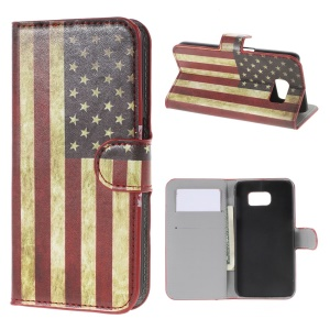 Retro American Flag Leather Card Slots Case for Samsung Galaxy S6 SM-G920
