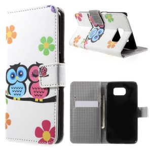 Stand Leather Wallet Case for Samsung Galaxy S6 G920 - Couple Owls and Flowers