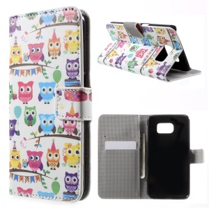 Stand Leather Wallet Cover for Samsung Galaxy S6 G920 - Multiple Owls