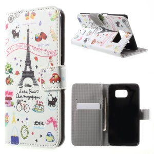 Wallet Leather Stand Case for Samsung Galaxy S6 G920 - Eiffel Tower and Cats