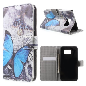 Wallet Leather Stand Cover for Samsung Galaxy S6 G920 - Blue Butterfly