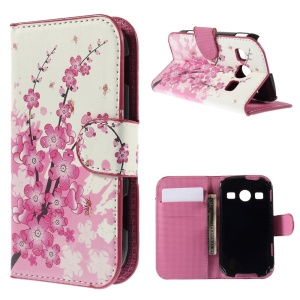 Plum Blossom PU Leather Card Holder Case for Samsung S7710 Galaxy Xcover 2